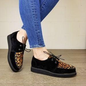 ec05d2a5116c Shoes - Black & Leopard Creeper Sneaker with Black Sole -Q